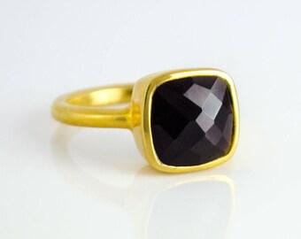 Black Onyx Ring, Gemstone Ring, Stacking Ring, Sterling silver Ring, Square Ring, bezel Set Ring, cushion cut ring, black onyx jewelry