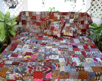 Bedspread, plaid, hanging cotonbrun, Brown and multicolor patchwork with 2 matching pillows, Interior fleece