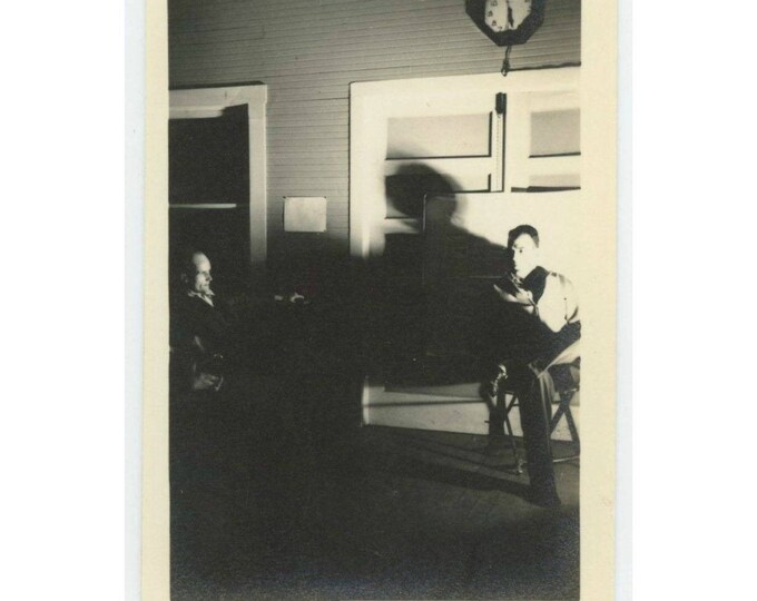 Vintage Photo Snapshot: Two Men in Shadows (77590)