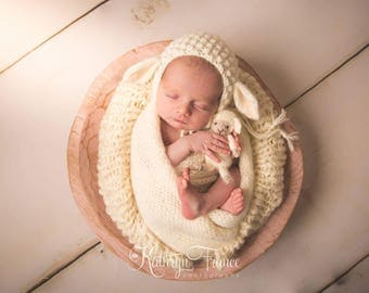 Newborn Lamb Bonnet Photography Prop, MADE TO ORDER
