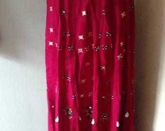 Vintage Rajasthan Shisha Mirror Work & Beaded Long Skirt Sz M-Xlrg Drawstring Indian Skirt Boho GYpsy