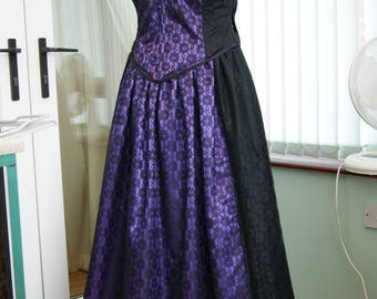 Purple and Black lace satin corset basque and skirt ballgown steampunk goth UK size 16 OBSIDIAN