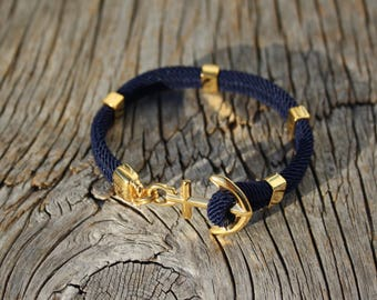 ANCHORED - Anchor bracelet in gold steel - waterproof