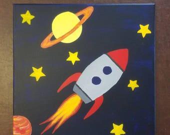 Boys Rocketship canvas
