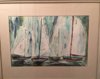 Fern Robinson REGATTA Mid Century Modernist Sailing Scene  California Artist