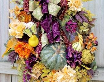 XXL Eggplant Purple, Gold and Moss green Elegant Tuscan Fall Wreath, Pumpkin, Extra large, Wisteria, Pear, Thanksgiving, Autumn, rustic