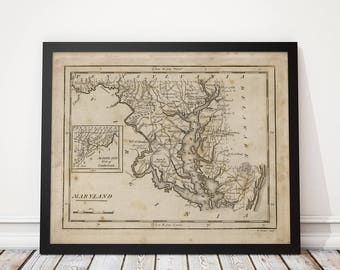 Old Maryland Map Art Print 1816 Antique Map Archival Reproduction