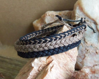 Braided Hemp BRACELETs -  Set of 3 - Black Hemp, Brown Hemp, & Mixed - Braided Hippie Surfer Hemp for Men or Women