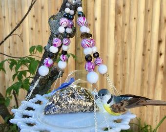 Repurposed Vintage Plate Bird Feeder, Upcycled Dish Bird Feeder, Recycled Garden Yard Art, Hanging Planter, Dish Art, Recycled Jewelry Craft