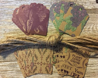 Plant Love Grow Craft Cardstock Gift Tags with Jute Cord Assorted Prints: Set of 16
