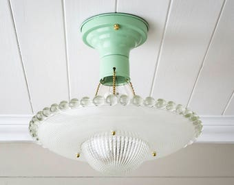 Pair Available! Vintage Rewired Jadeite Mint 3 Chain Flush Mount Ceiling Light Fixture Hobnail Holophane UFO Clear Frosted Glass Deco Brass
