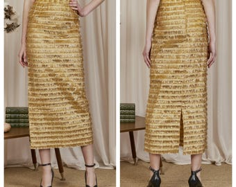 vintage 50s/60s showgirl high waisted gold metallic tinsel fringe maxi skirt