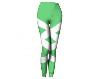 Green Tights - FREE SHIPPING to USA power ranger cute leggings workout pants yoga pant spandex yogini girls who powerlift strong woman fun