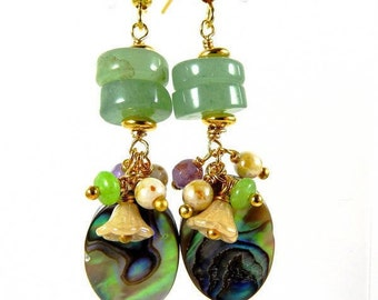 Andalusian * Aventurine Abalone earrings natural gold plated.