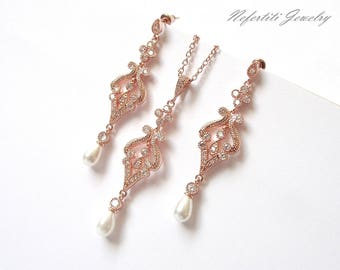 Rose gold bridal jewelry set, rose gold wedding jewelry, pearl bridal set, rose gold necklace & earrings, pearl wedding jewelry rose gold