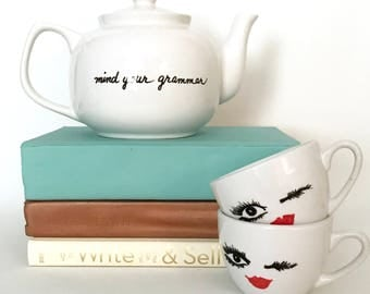 Housewares Teapot for Grammar Lovers Mind Your Grammar Funny Upcycled