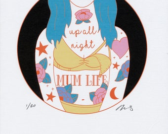 Up All Night Limited Edition 8.5x11 inch print on linen paper. Nursing, breastfeeding, motherhood art.