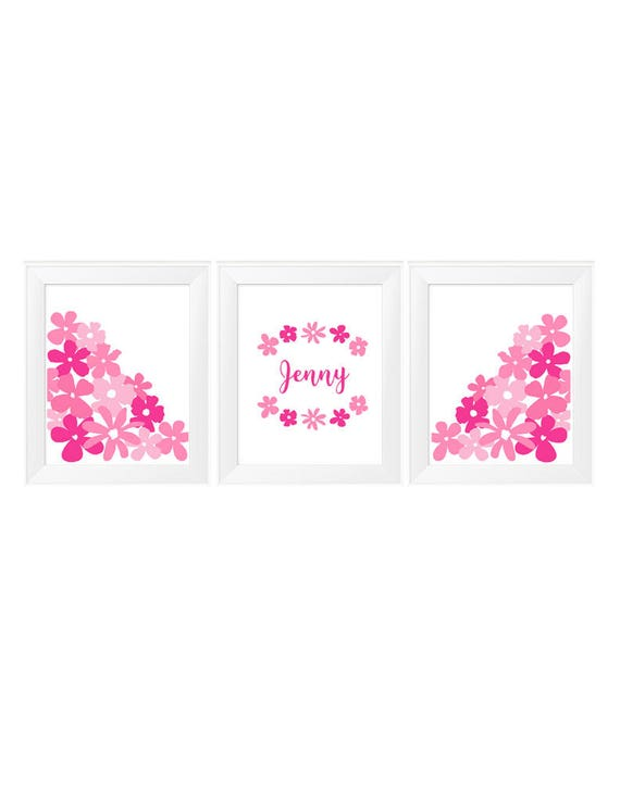 Hot Pink Flower Prints, 11x14 Set of 3 with Custom Name