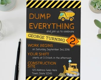 Construction Birthday Invite | Construction Birthday Invitation | Construction Birthday Party | Bulldozer | Dumptruck | Construction Party