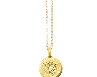 Etsy your place to buy and sell all things handmade gold lotus necklace lotus pendant necklace yoga jewelry minimalist necklace everyday necklace mozeypictures Image collections