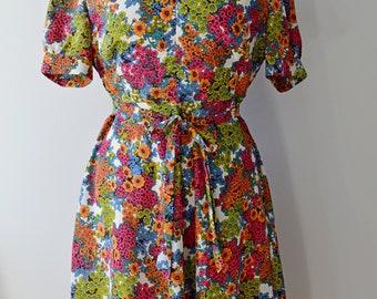 1950s 1960s floral flower power bright tea dress kitsch summer spring UK 16