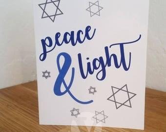 Peace & Light -  Hanukkah Card