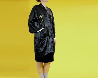 black vintage kimono   silk embroidered kimono   chinese kimono   hand embroidered dragon robe   jacket   kimono