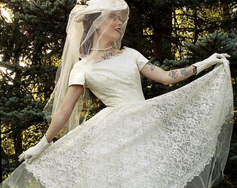 etsy tea length wedding dress. vintage clothing 1950s wedding dress white ivory lace and tulle, gown, tea length etsy