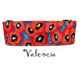 "Poppy Blue Dog Collar 1"", 1.5"" or 2"" Valencia Poppy Dog Collar Buckle or Martingale Style Collar"