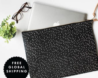 Modern Laptop Sleeve **FREE International Shipping** Specks Black Pattern - MacBook Case One Size Fits Most