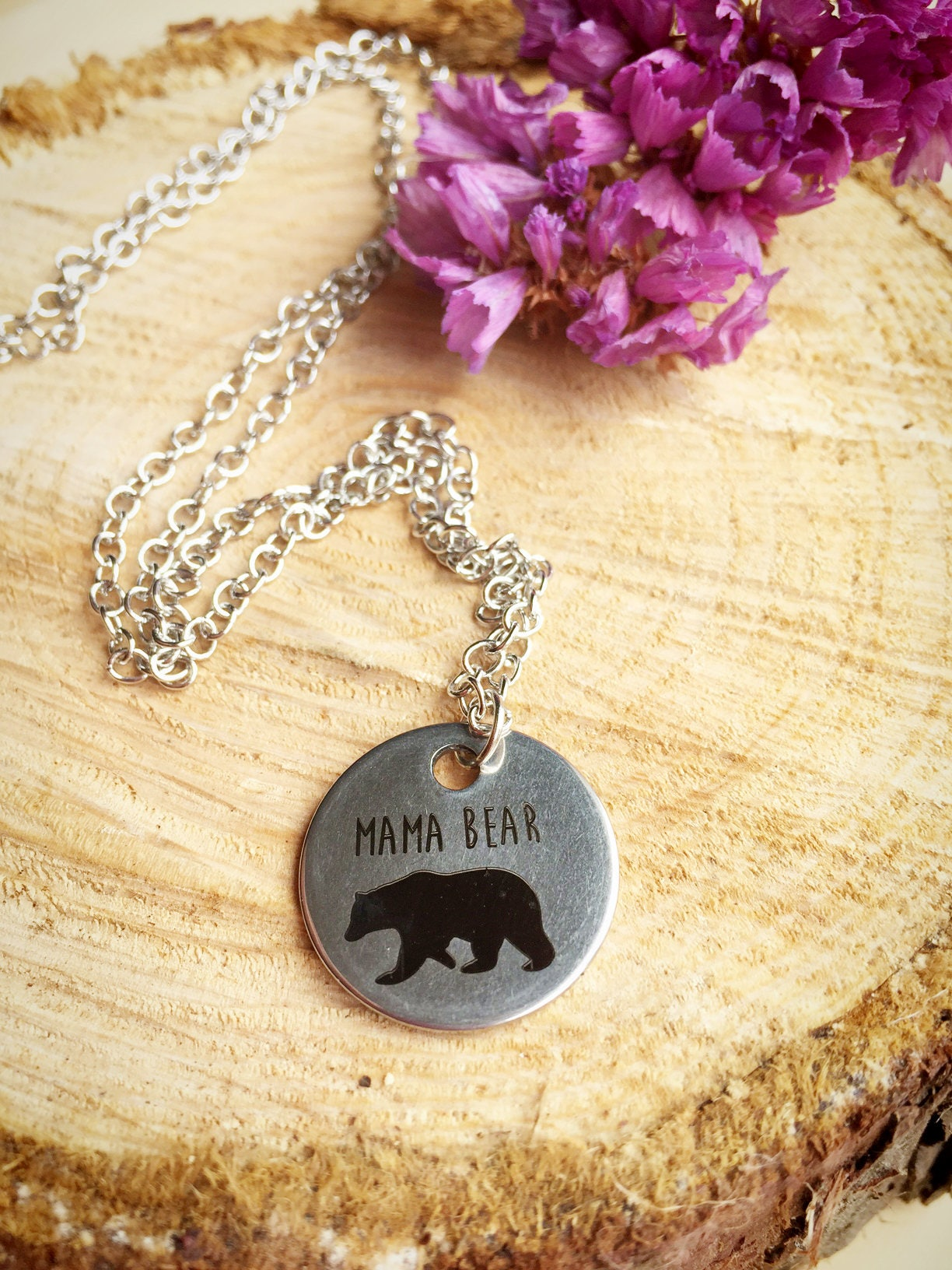 Baby Gift Jewelry For Mom : Mama bear necklace mom baby shower gift
