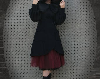 Andrew Black large hooded coat