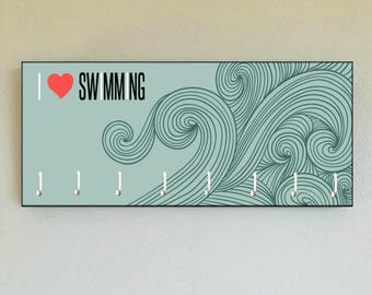 "Race Medal Holder /  Race Medal Hanger. ""I LOVE SWIMMiNG."" Wood Wall Mounted Wood Organizer. CUSTOMIZATION Available"