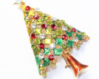 Sparkly Rhinestone Diamante Christmas Tree Vintage Brooch (c1960s) (bead missing)