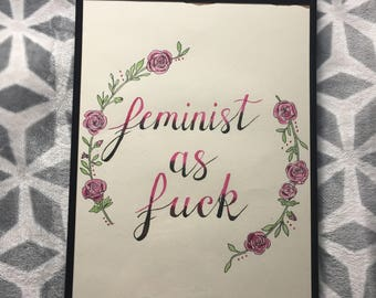 Feminist AF - A3 Hand-painted Watercolour Wall Art