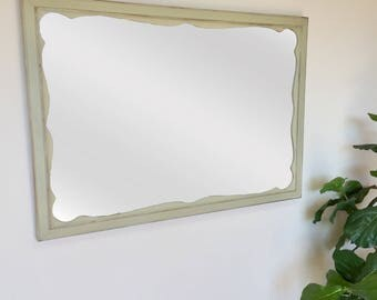 Captivating Shabby Chic Mirror   French Country Decor   Framed Bathroom Mirror   Rustic  Farmhouse Decor