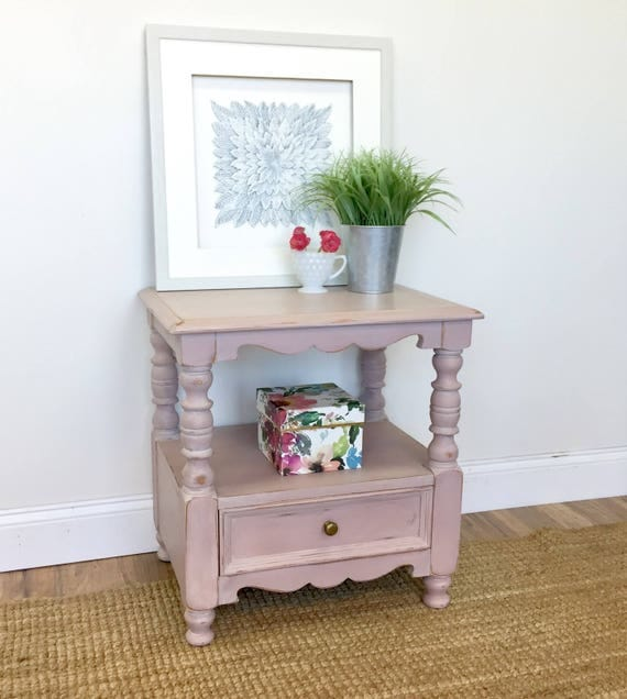Pink Nightstand - Shabby Chic Furniture - Bed Side Table - Distressed Furniture - Nightstand with Drawer - Small Nightstand - Wood Stand