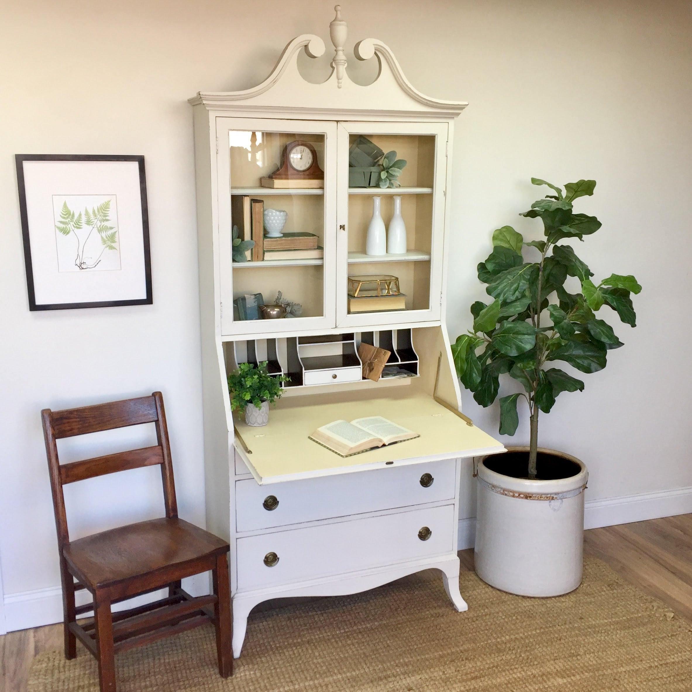 Antique Secretary Desk With Hutch   Home Office Furniture   Compact Desk   Tall  Secretary Desk   Drop Front Desk   Home Desk   Antique Desk