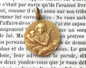 St John the Baptist Medal - Gold St John the Baptist Medal - Real Antique French Medal - Religious Medal - Gold Fix Medal - Signed Tairac