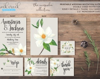 The Magnolia Collection Printable Wedding Invitation Suite