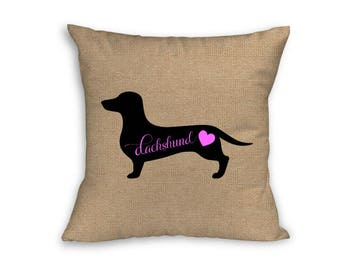 """Pink Dachshund Pillow Cover, Pillow Cover, Dachshund Pillow Cover, 18"""" x 18"""" Zip Pillow Cover"""