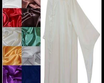 Beautiful Shimmer Satin Cloak with Sleeves. Ideal for a Wedding, Handfasting or Medieval Event. Made Especially For You- Choose your colours