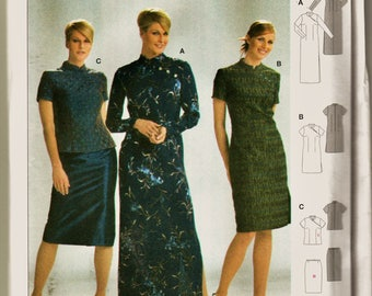 Burda Pattern 8438 Cheongsam Maxi, Dress or Top w Skirt Sz 10-22 Uncut FF Asian Style Career Wear Sewing Patterns Sew Supplies