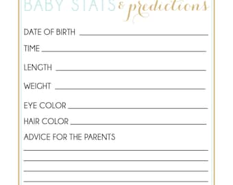 INSTANT DOWNLOAD baby stats and predictions for baby shower game blue gold confetti