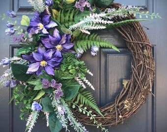 Purple Spring Wreaths, Purple Door Wreaths, Spring Wreath, Gift for Her, Housewarming, Mothers Day, Fun Wreaths, Floral Wreaths, Summer