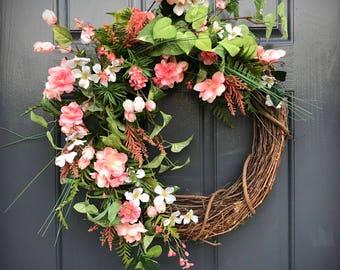 Spring Easter Wreath, Spring Door Wreaths, Easter Door Wreath, Pink Wreath, Coral, Gift for Her, Mother's Day, Summer Door Wreaths
