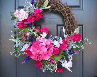 Spring Hydrangea Wreath, Spring Wreaths, Spring Door Wreaths, Door Decor, Hydrangea Wreaths, Pink Door Wreath, Pink Hydrangeas, Gift for Her