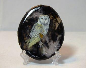 barn owl agate painting