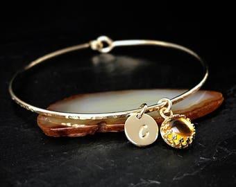 Genuine Citrine Charm Bangle / November Birthstone Bracelet  / Gold Gemstone Jewelry / November Birthday Gift for Mom / Mothers Jewelry
