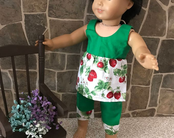 "End of Summer Sale!!! Green/Strawberry Print Top and Shorts made to fit 18"" dolls FREE SHIPPING"
